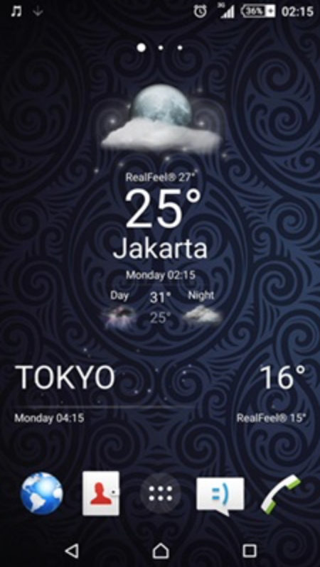Sony stock weather widget in Transparent Mode