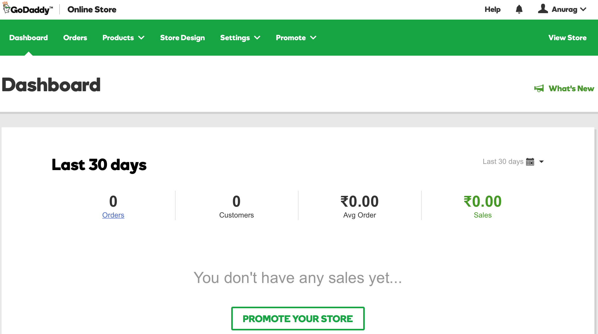GoDaddy Online Store Dashboard