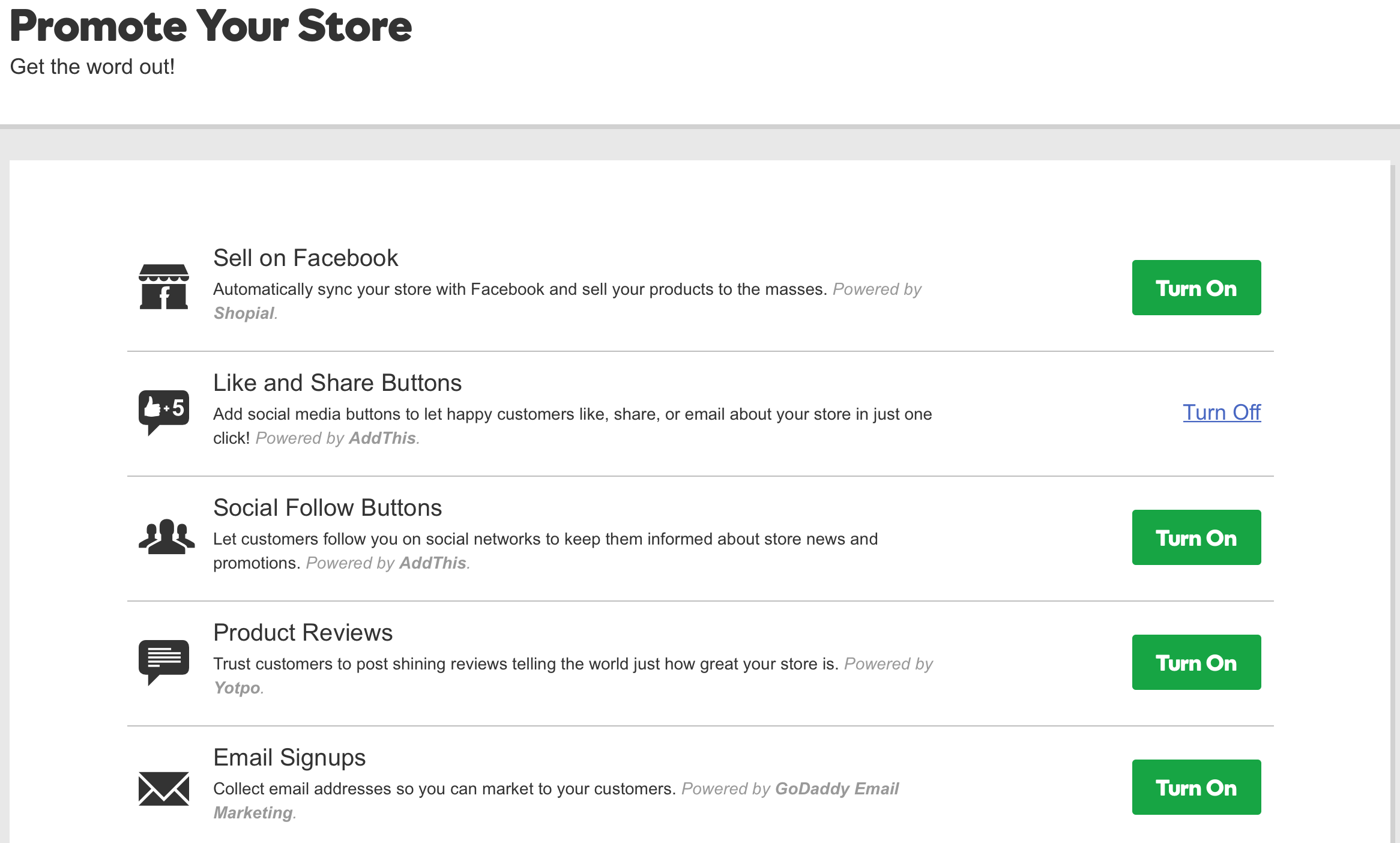 GoDaddy Online Store Promotional Tools