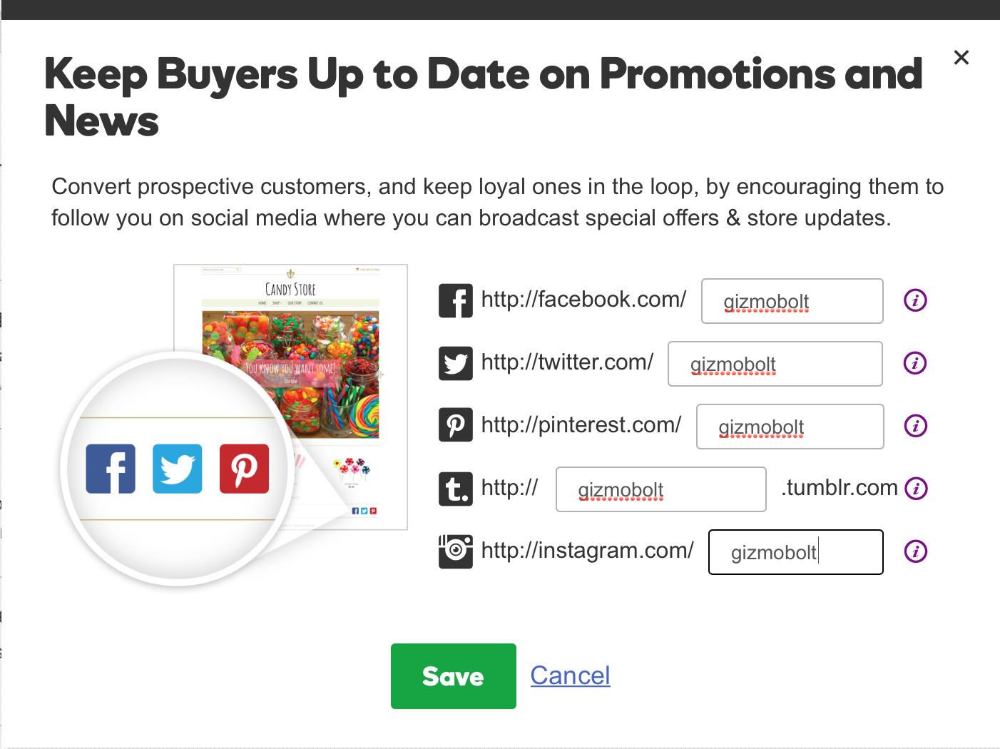 GoDaddy Online Store Follow Buttons