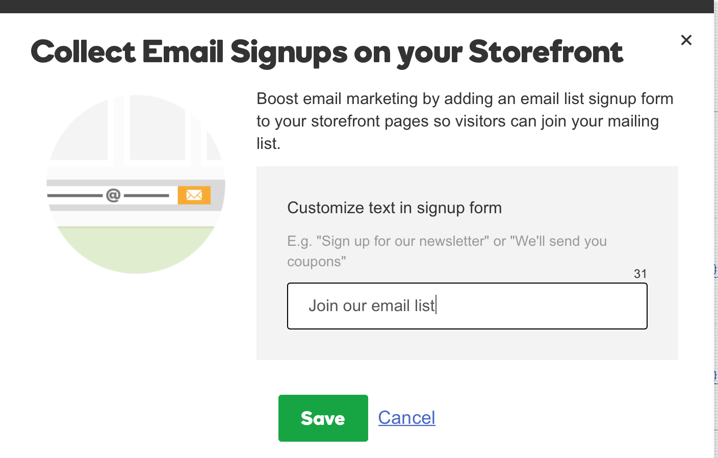 GoDaddy Online Store Email Sign Ups