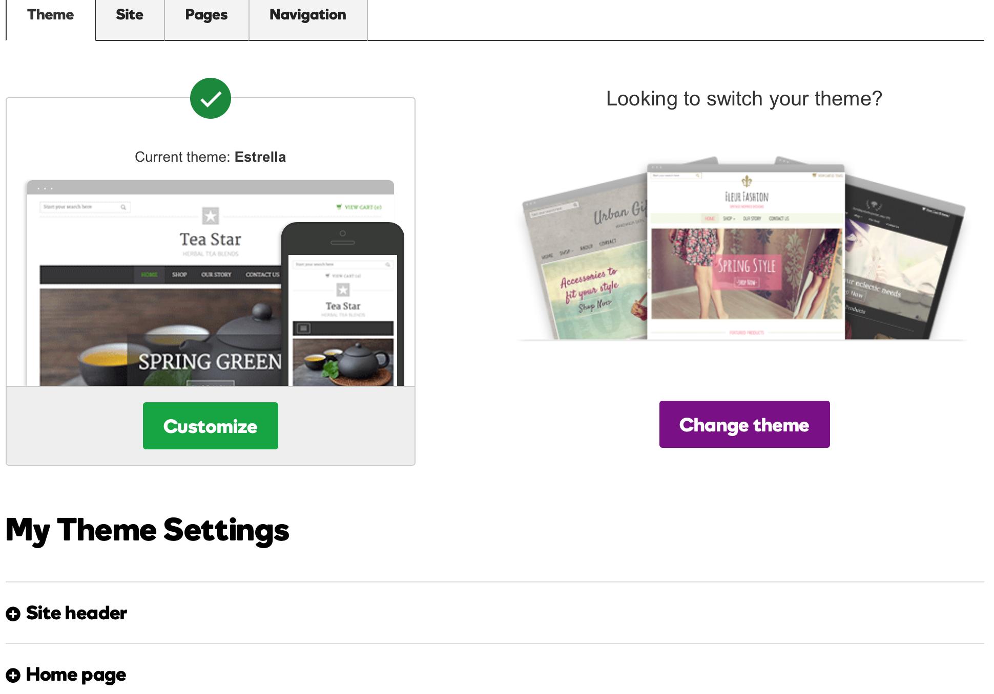 GoDaddy Online Store - Themes