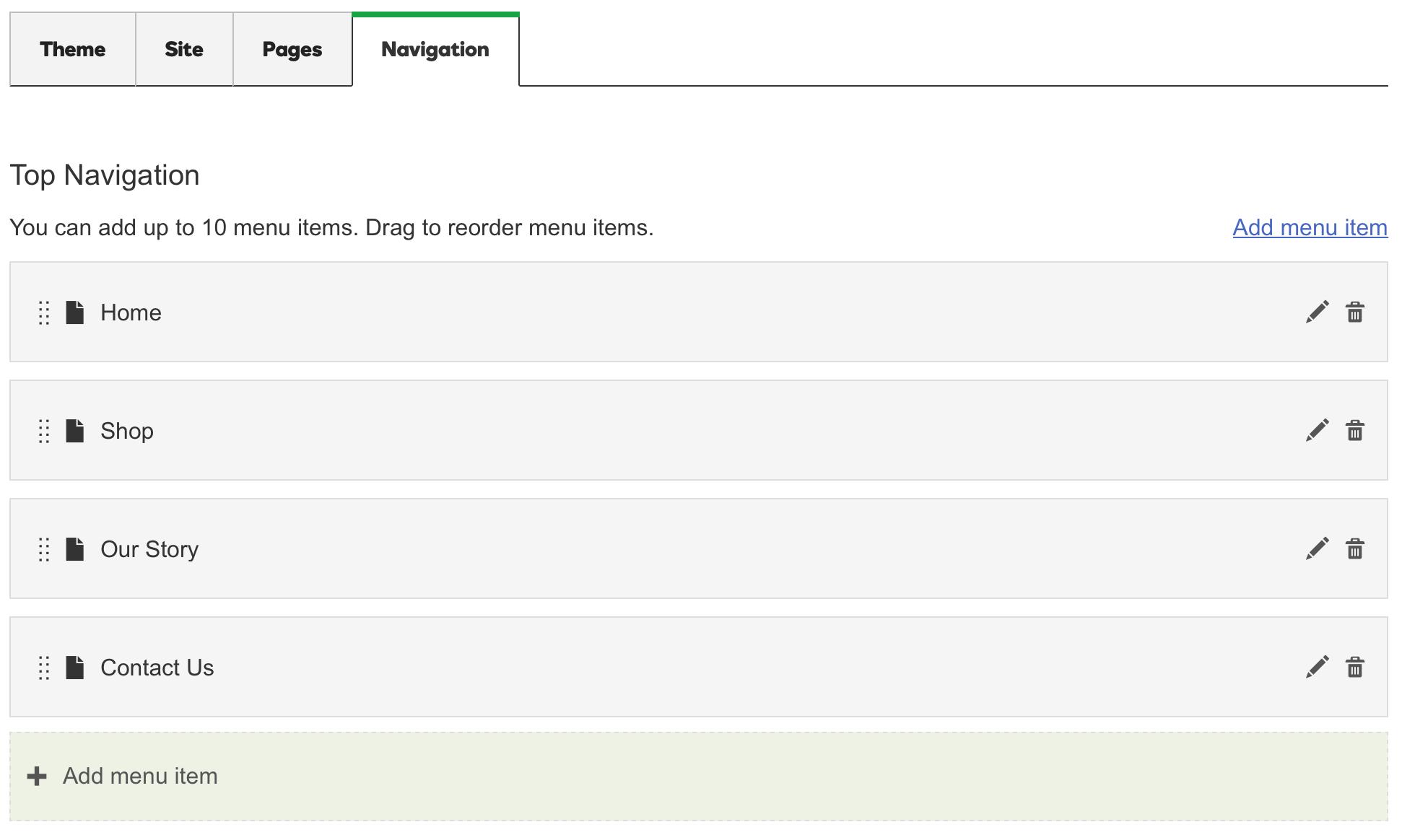 GoDaddy Online Store - Navigation