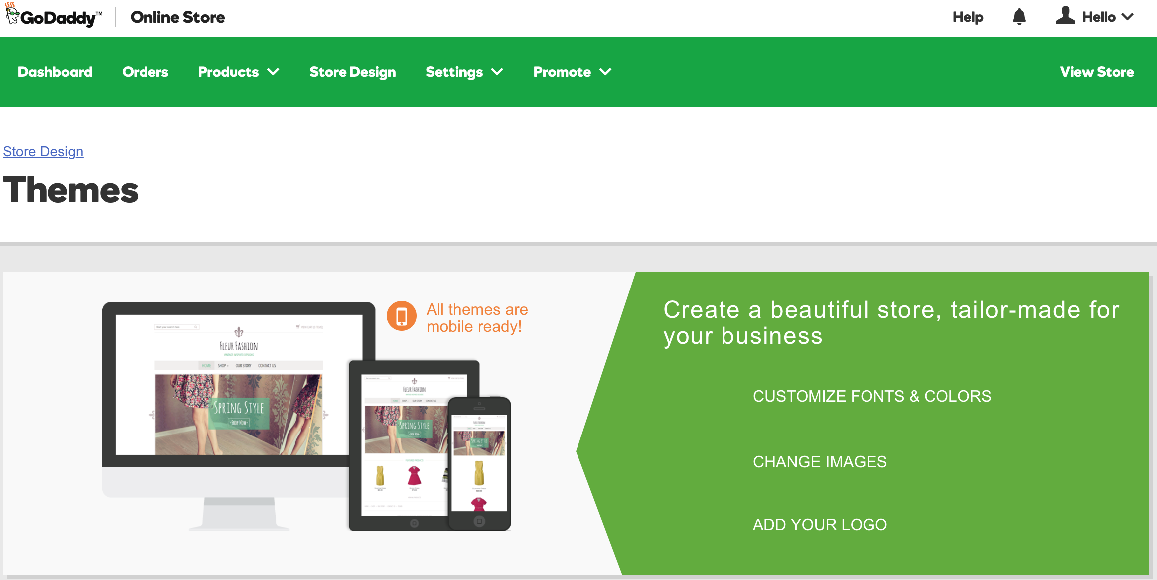 GoDaddy Online Store - 18 Themes Available