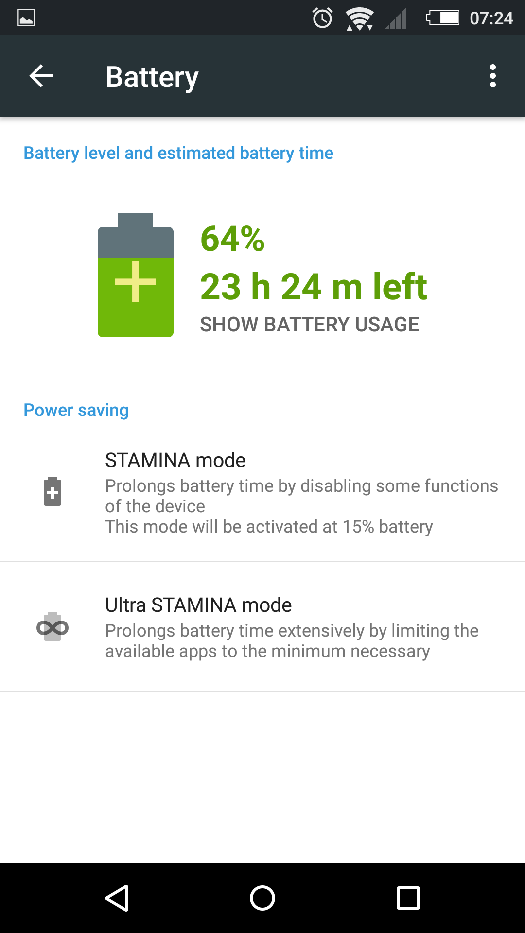 STAMINA MODE is back in 32.2.A.0.224 firmware