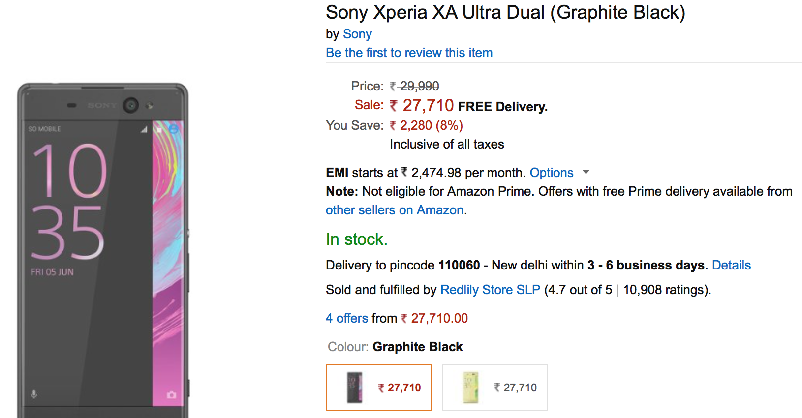 Xperia XA Ultra is available at Rs 27710 ($414) from Amazon India