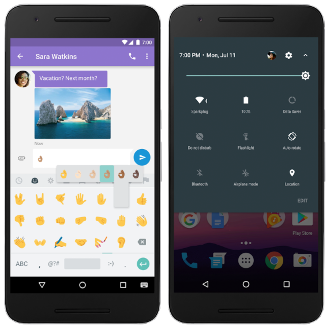 Android 7.0 Expanded emoji and Quick Settings controls