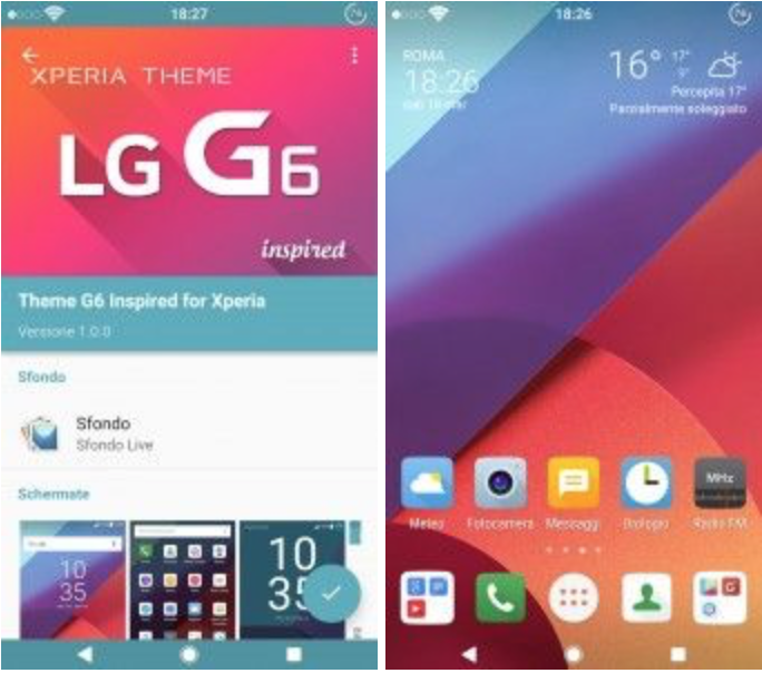 Install LG G6 Inspired Xperia Theme with Icons Pack