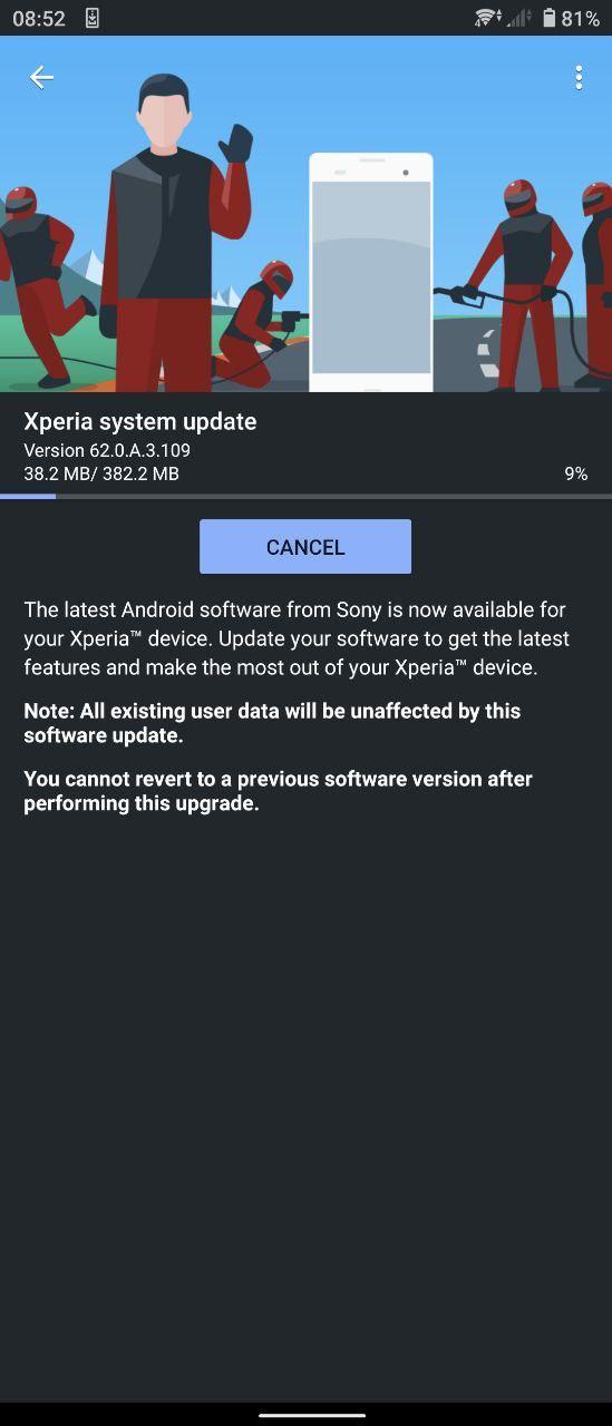 Xperia 62.0.A.3.109 Firmware update
